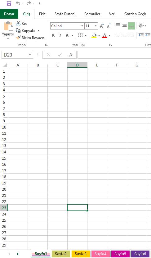 Excel'de sayfa isimlerini renklendirmek
